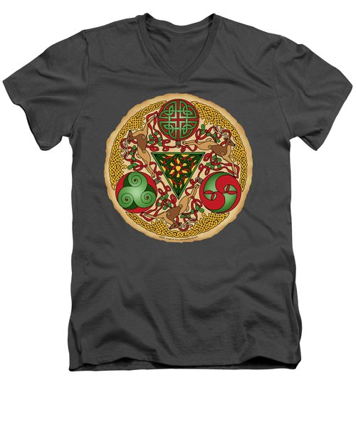 Men's V-Neck T-Shirt featuring the mixed media Celtic Reindeer Shield by Kristen Fox