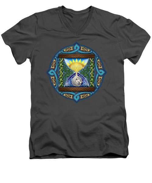 Men's V-Neck T-Shirt featuring the mixed media Celtic Sun Moon Hourglass by Kristen Fox