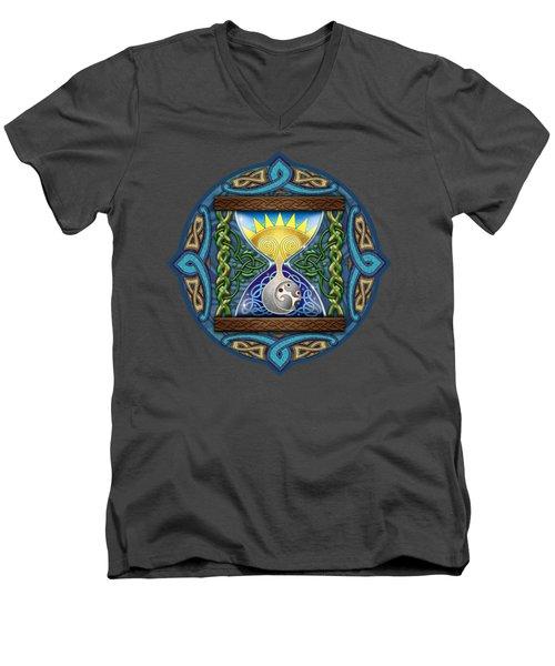 Celtic Sun Moon Hourglass Men's V-Neck T-Shirt by Kristen Fox