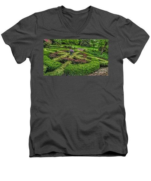 Celtic Topiary At Frelinghuysen Arboretum Men's V-Neck T-Shirt