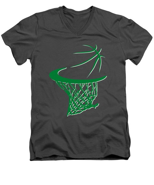 Celtics Basketball Hoop Men's V-Neck T-Shirt by Joe Hamilton