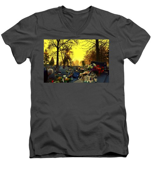 Cemetery In Feast Of The Dead Men's V-Neck T-Shirt