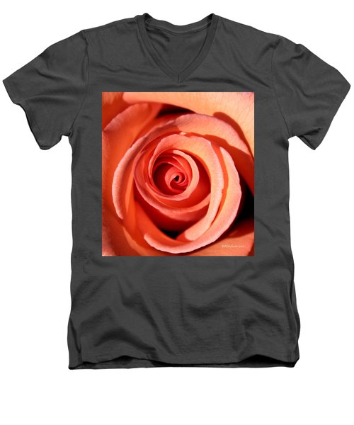 Men's V-Neck T-Shirt featuring the photograph Center Of The Peach Rose by Barbara Chichester