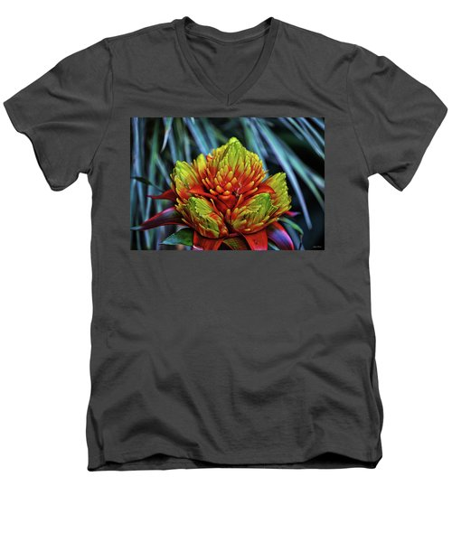 Men's V-Neck T-Shirt featuring the photograph Centerpiece - Bromeliad 005 by George Bostian
