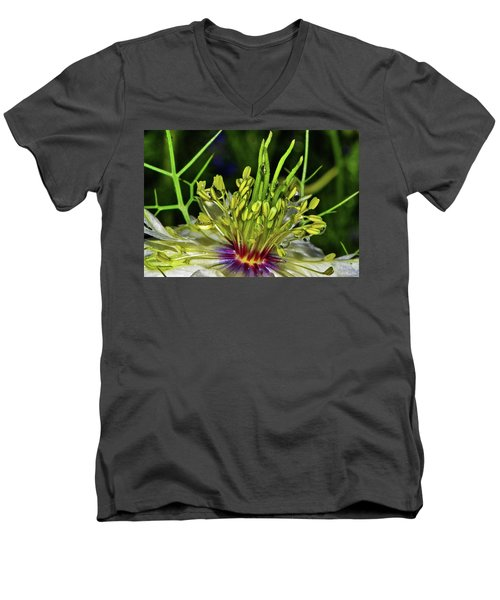 Centerpiece - Love In The Mist Macro Men's V-Neck T-Shirt