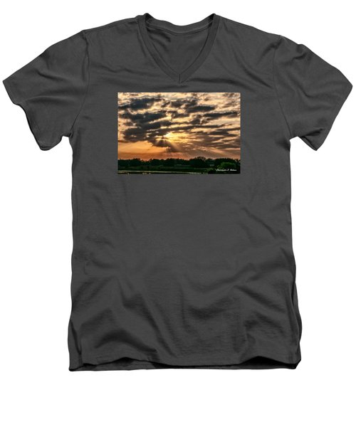 Men's V-Neck T-Shirt featuring the photograph Central Florida Sunrise by Christopher Holmes