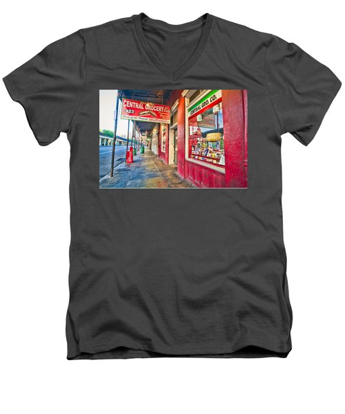 Men's V-Neck T-Shirt featuring the photograph Central Grocery And Deli In The French Quarter by Andy Crawford
