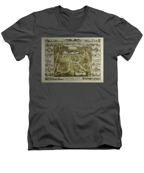 Men's V-Neck T-Shirt featuring the photograph Central Park 1863 by Duncan Pearson