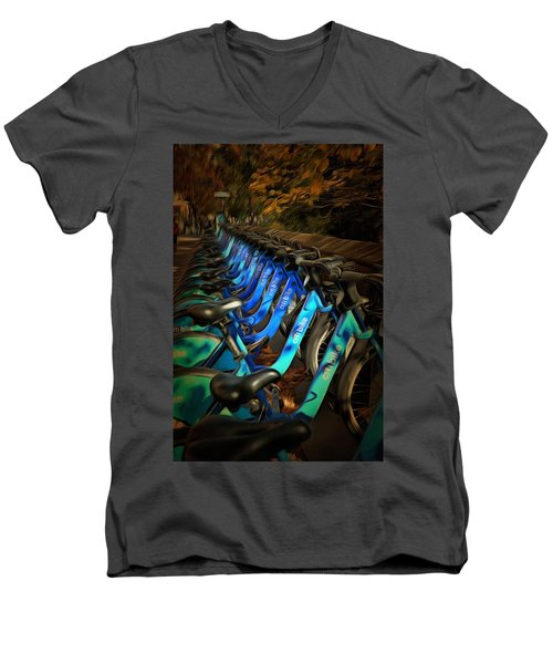 Men's V-Neck T-Shirt featuring the mixed media Central Park Bikes by Trish Tritz