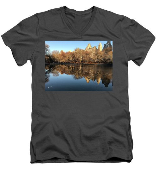 Men's V-Neck T-Shirt featuring the photograph Central Park City Reflections by Madeline Ellis