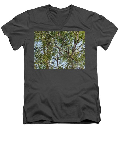 Men's V-Neck T-Shirt featuring the photograph Central Texas Sky View Through Mesquite Trees by Ray Shrewsberry