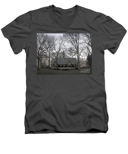 Centrally Located Men's V-Neck T-Shirt