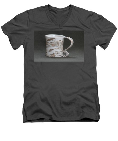 Ceramic Marbled Clay Cup Men's V-Neck T-Shirt by Suzanne Gaff