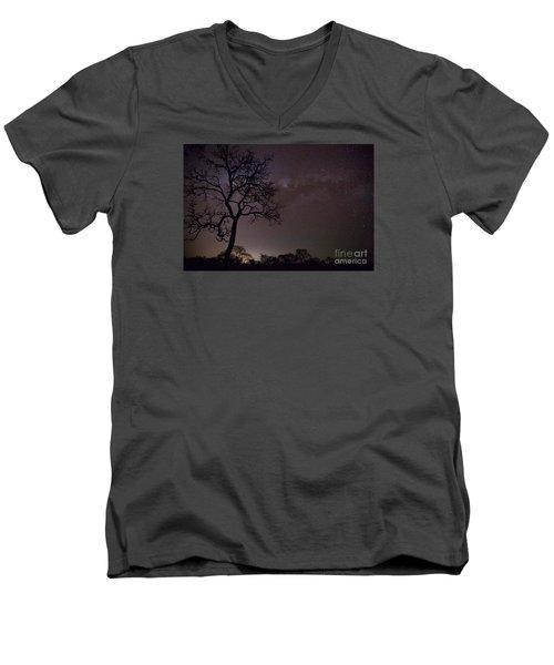Cerrado By Night Men's V-Neck T-Shirt by Gabor Pozsgai
