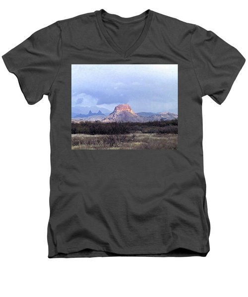 Men's V-Neck T-Shirt featuring the painting Cerro Castellan And Mule Ears  by Dennis Ciscel
