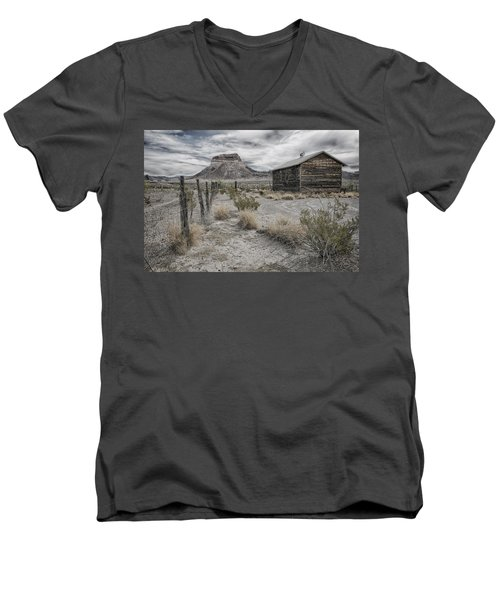 Men's V-Neck T-Shirt featuring the tapestry - textile Cerro Castellan - Big Bend  by Kathy Adams Clark