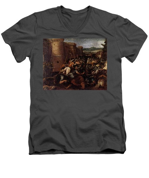 Cesari Giuseppe St Clare With The Scene Of The Siege Of Assisi Men's V-Neck T-Shirt by Giuseppe Cesari
