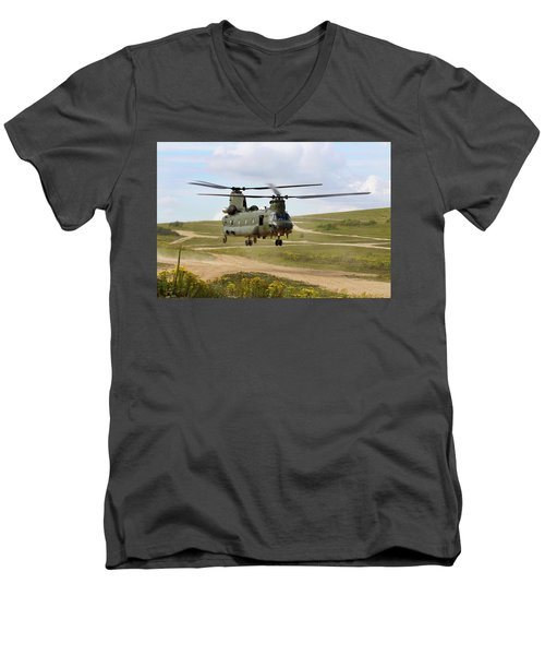 Ch47 Chinook In The Dust Bowl Men's V-Neck T-Shirt by Ken Brannen