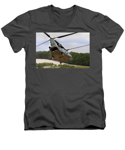Ch47 Chinook On Manoeuvres Men's V-Neck T-Shirt by Ken Brannen
