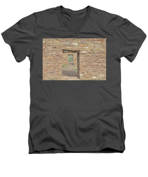 Men's V-Neck T-Shirt featuring the photograph Chaco Canyon Doors by Debby Pueschel