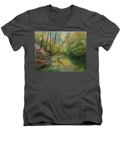Chagrin River In Spring Men's V-Neck T-Shirt