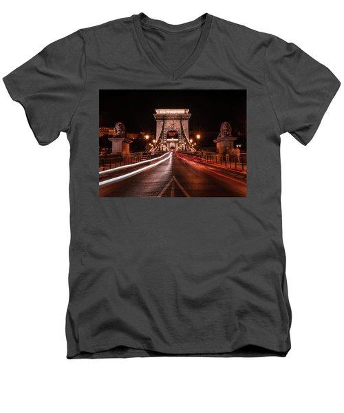Chain Bridge At Midnight Men's V-Neck T-Shirt by Jaroslaw Blaminsky