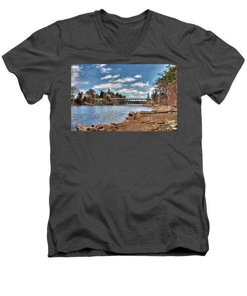 Chain Bridge On The Merrimack Men's V-Neck T-Shirt