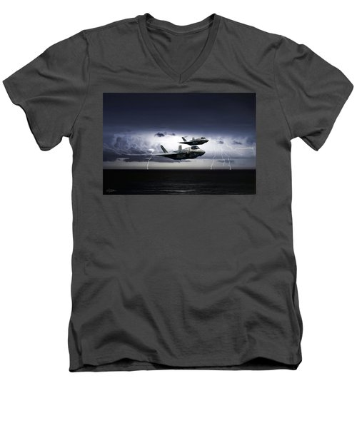Men's V-Neck T-Shirt featuring the digital art Chain Lightning by Peter Chilelli