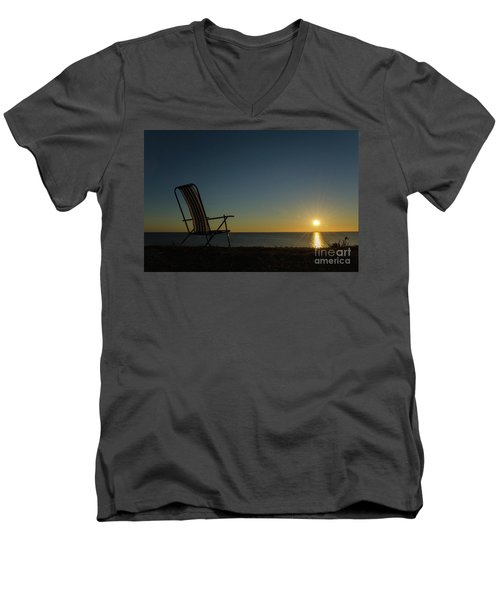 Men's V-Neck T-Shirt featuring the photograph Chair By The Setting Sun by Kennerth and Birgitta Kullman