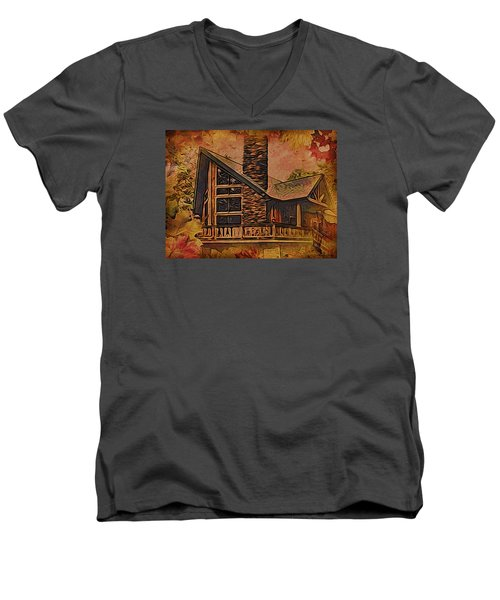 Men's V-Neck T-Shirt featuring the digital art Chalet In Autumn by Kathy Kelly