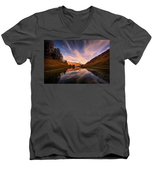 Chalet With An Autumn View Men's V-Neck T-Shirt