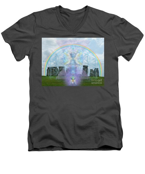 Chalice Over Stonehenge In Flower Of Life And Man Men's V-Neck T-Shirt
