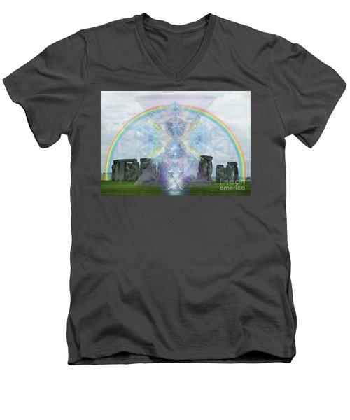 Men's V-Neck T-Shirt featuring the digital art Chalice Over Stonehenge In Flower Of Life by Christopher Pringer
