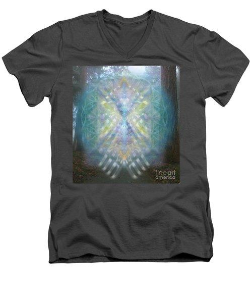 Men's V-Neck T-Shirt featuring the digital art Chalice-tree Spirit In The Forest V1 by Christopher Pringer