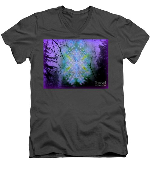 Men's V-Neck T-Shirt featuring the digital art Chalice-tree Spirit In The Forest V1a by Christopher Pringer