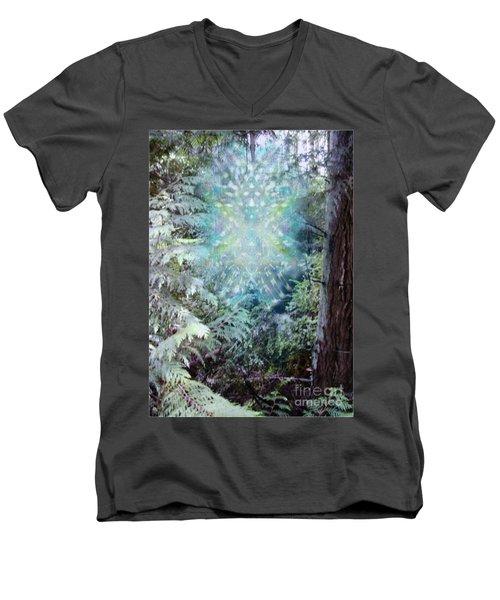 Men's V-Neck T-Shirt featuring the digital art Chalice-tree Spirit In The Forest V3 by Christopher Pringer