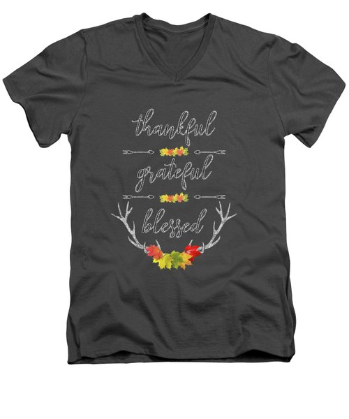 Chalkboard Handwriting Thankful Grateful Blessed Fall Thanksgiving Men's V-Neck T-Shirt
