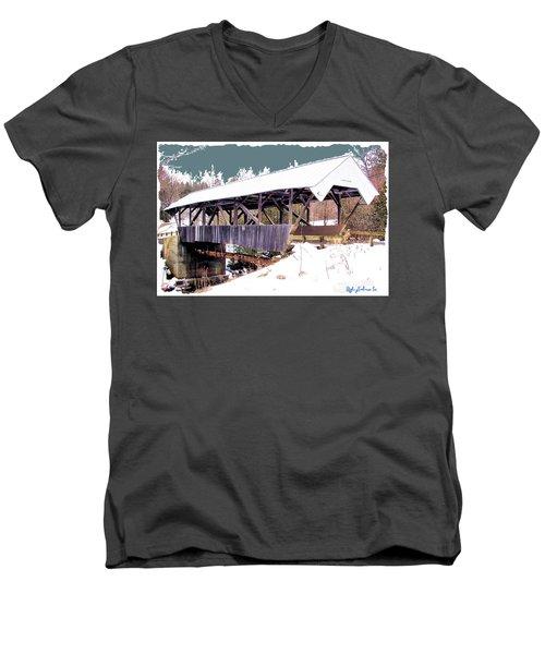 Men's V-Neck T-Shirt featuring the digital art Chamberlain Bridge by John Selmer Sr