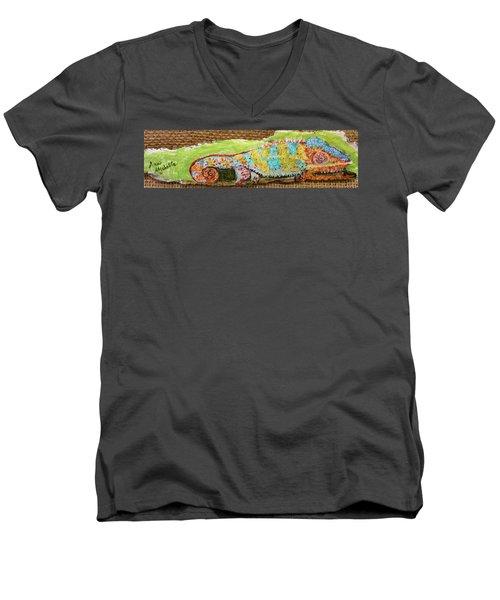 Chameleon Men's V-Neck T-Shirt by Ann Michelle Swadener