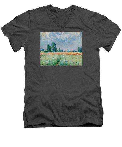 Men's V-Neck T-Shirt featuring the painting Champ De Ble by Claude Monet