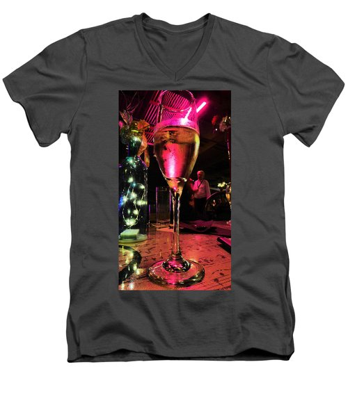 Men's V-Neck T-Shirt featuring the photograph Champagne And Jazz by Lori Seaman