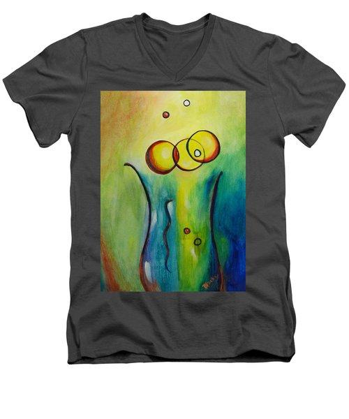 Champagne Men's V-Neck T-Shirt by Donna Blackhall