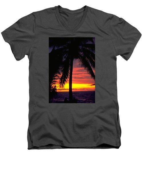 Champagne Sunset Men's V-Neck T-Shirt by Travel Pics
