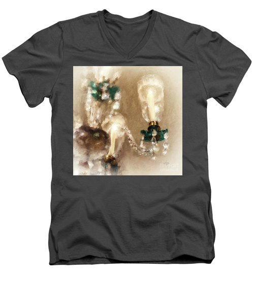 Men's V-Neck T-Shirt featuring the digital art Chandelier At Winterthur by Lois Bryan