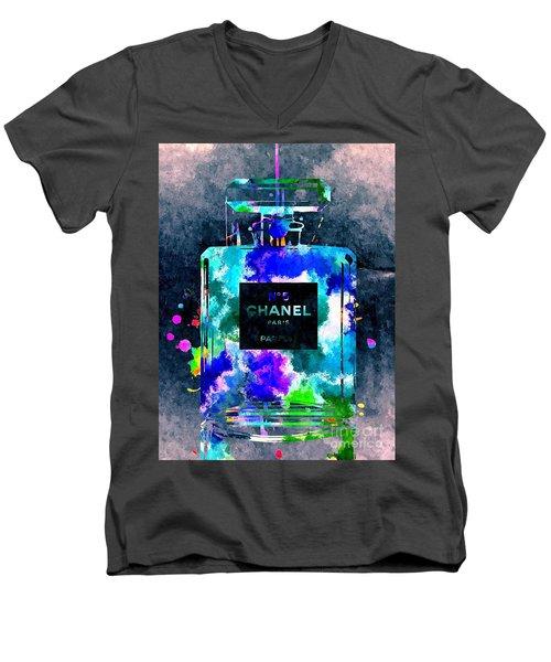 Chanel No 5 Dark Grunge Men's V-Neck T-Shirt by Daniel Janda