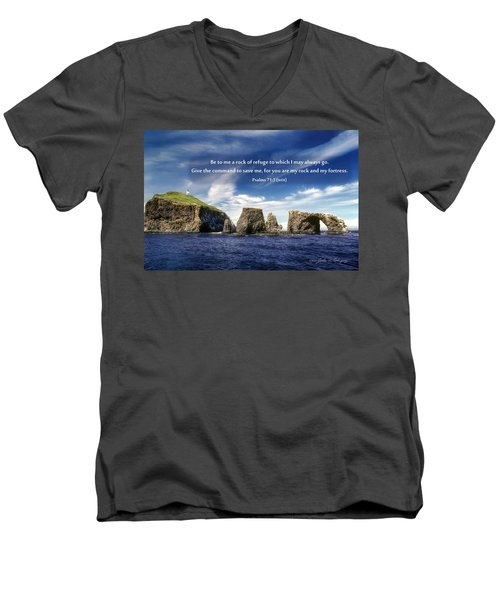 Channel Island National Park - Anacapa Island Arch With Bible Verse Men's V-Neck T-Shirt