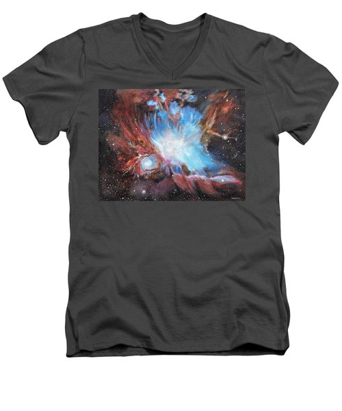 Men's V-Neck T-Shirt featuring the painting Chaos In Orion by Ken Ahlering