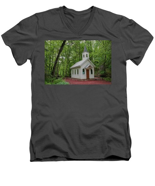 Chapel In The Woods 1 Men's V-Neck T-Shirt by Trey Foerster