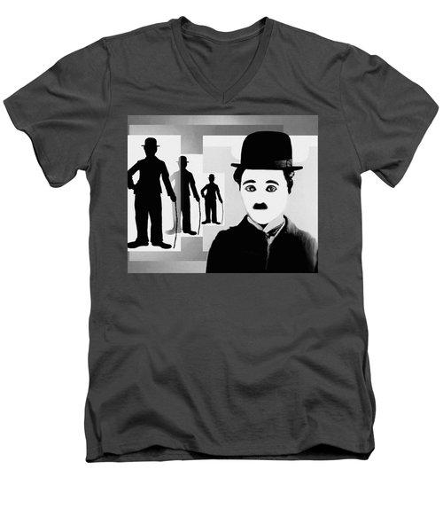 Chaplin, Charlie Chaplin Men's V-Neck T-Shirt by Hartmut Jager