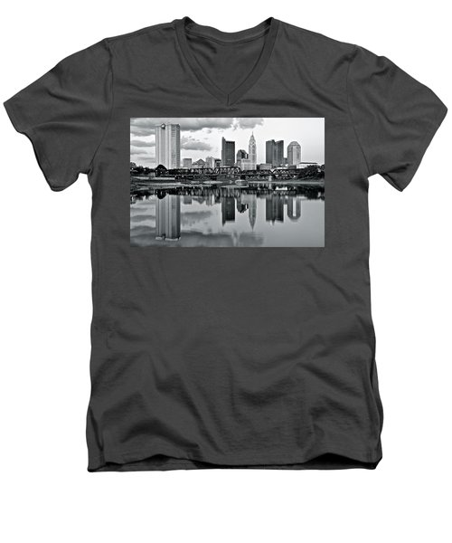 Charcoal Columbus Mirror Image Men's V-Neck T-Shirt